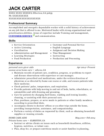 personal care giver aide resume sample Georgia