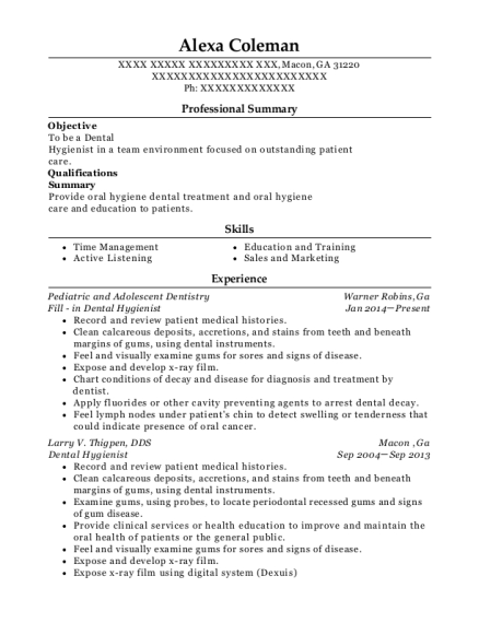 Fill in Dental Hygienist resume sample Georgia
