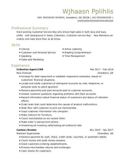 Collection Agent resume sample Georgia