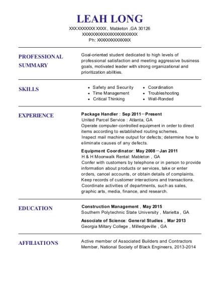 Package Handler resume format Georgia
