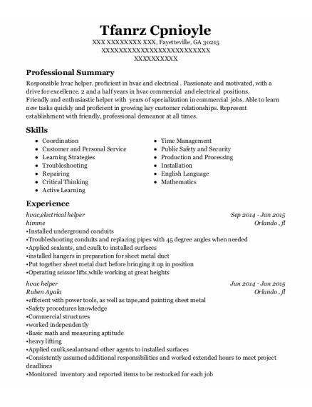 hvac resume sample Georgia