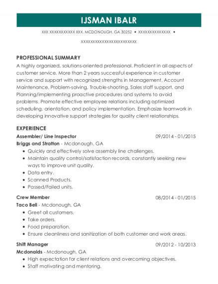 Assembler resume sample Georgia