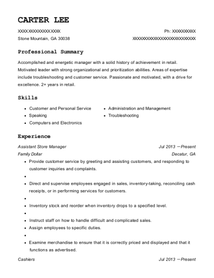 Assistant Store Manager resume example Georgia