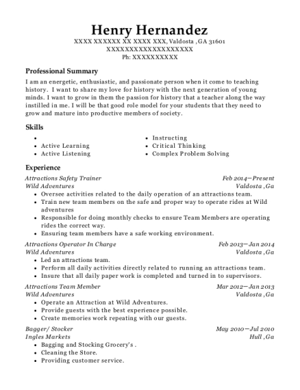 Attractions Safety Trainer resume example Georgia
