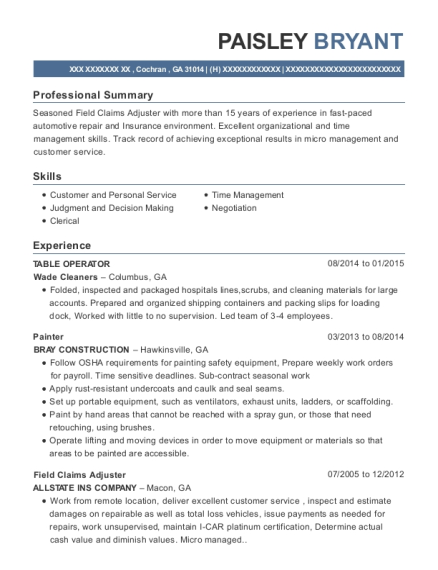 TABLE OPERATOR resume template Georgia