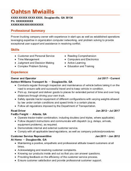 Owner and operator resume example Georgia