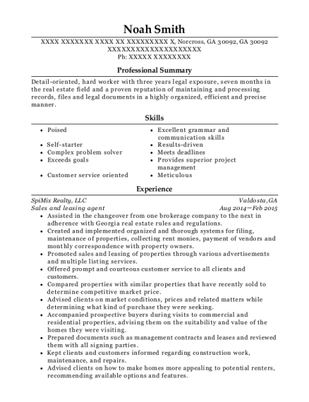 Sales and leasing agent resume template Georgia