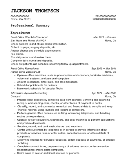 Front Office Check in resume example Georgia