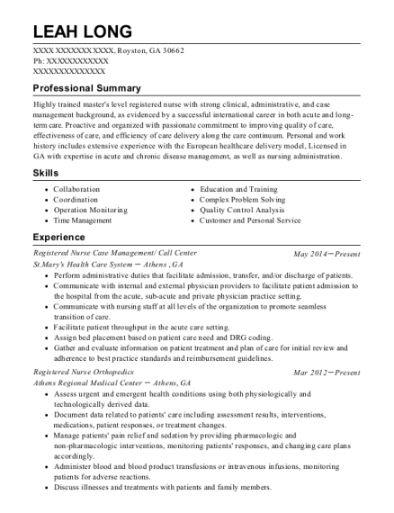 Registered Nurse Case Management resume example Georgia