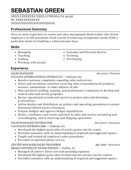 Sales Manager resume sample Georgia