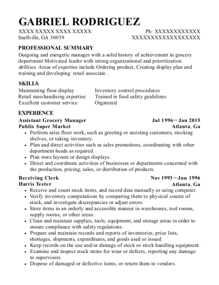 Assistant Grocery Manager resume example Georgia
