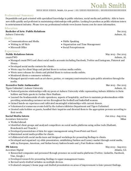 Public Relations Intern resume example Georgia