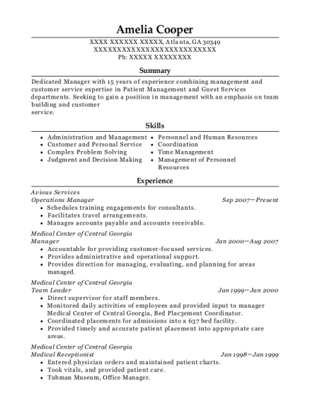 Operations Manager resume example Georgia