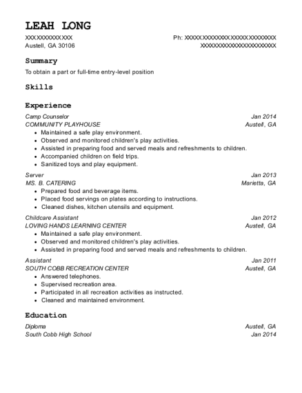 Camp Counselor resume sample Georgia