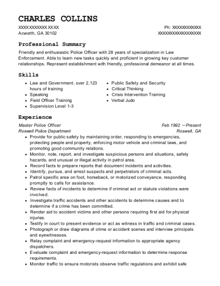 Master Police Officer resume template Georgia