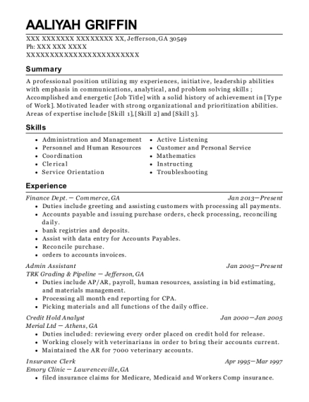 Admin Assistant resume sample Georgia