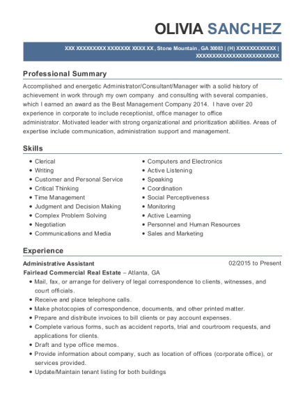 Administrative Assistant resume format Georgia