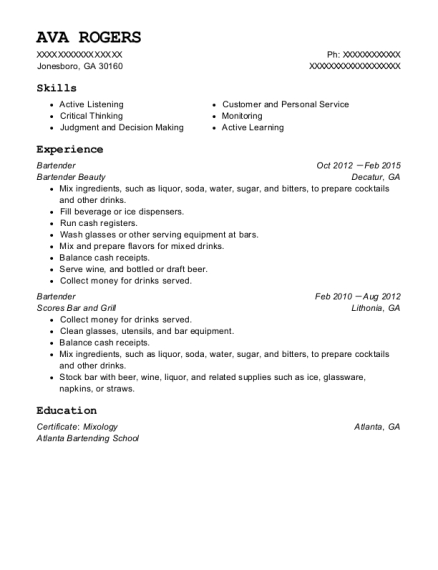 Bartender resume sample Georgia