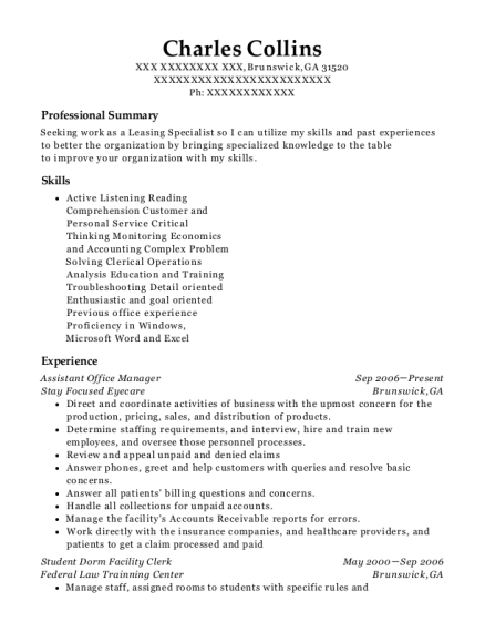 Assistant Office Manager resume format Georgia