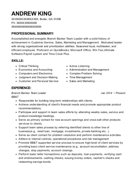 Branch Banker Team Leader resume example Georgia