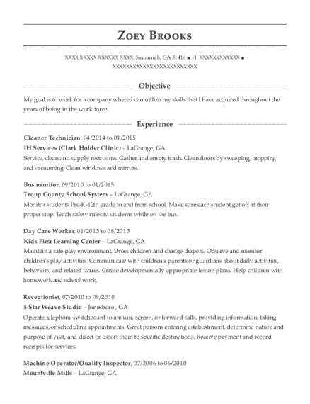 Cleaner Technician resume example Georgia