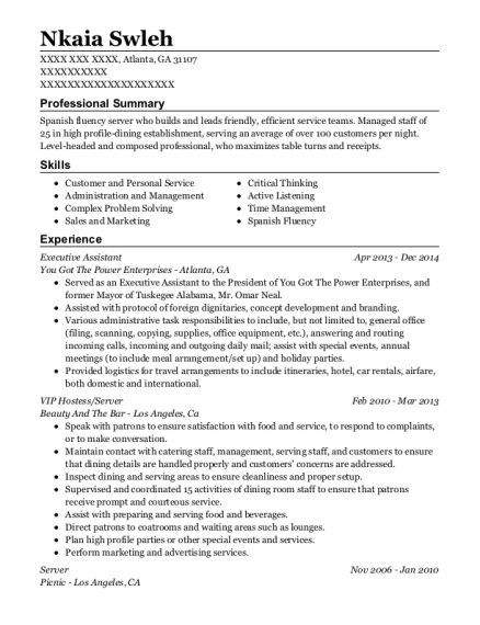 Executive Assistant resume template Georgia