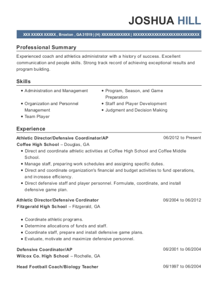 Athletic Director resume example Georgia