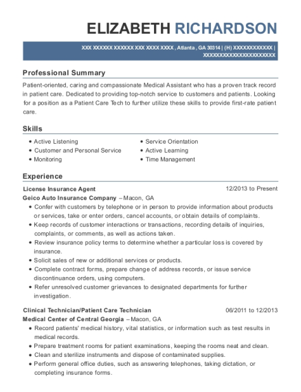 License Insurance Agent resume template Georgia