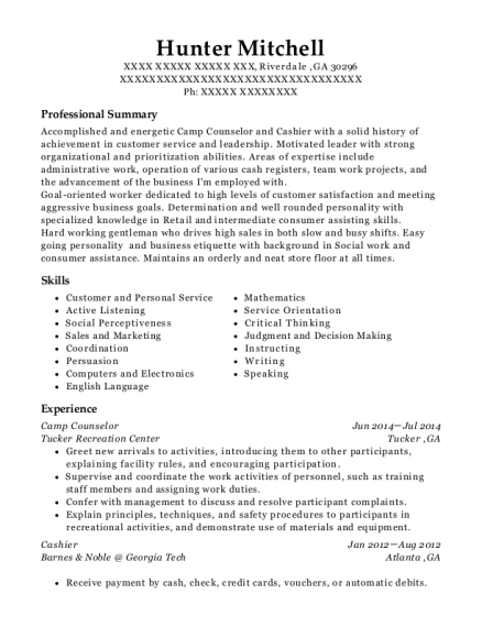 Camp Counselor resume format Georgia