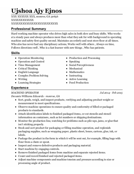 MACHINE OPERATOR resume template Georgia
