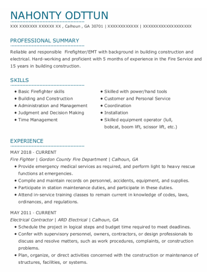 Fire Fighter resume template Georgia