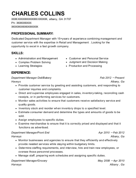 Department Manager Deli resume example Georgia