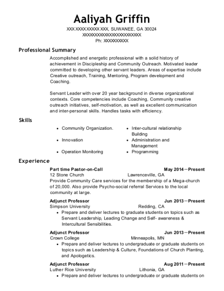 Part time Pastor on Call resume sample Georgia