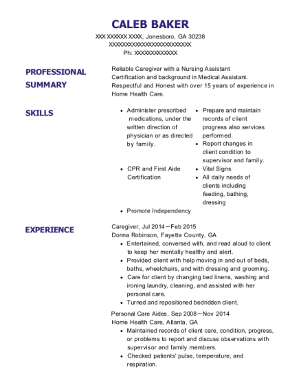 Caregiver resume sample Georgia