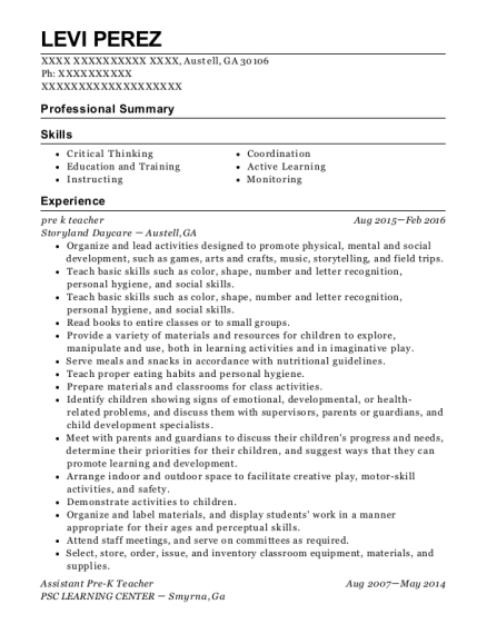pre k teacher resume format Georgia