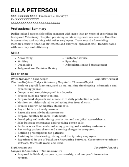 Office Manager resume example Georgia