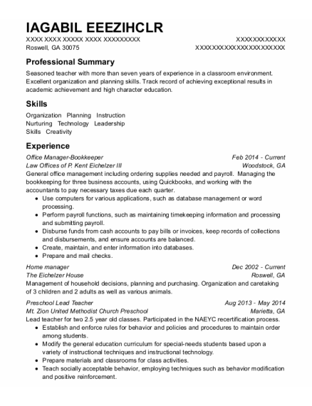 Home Manager resume example Georgia