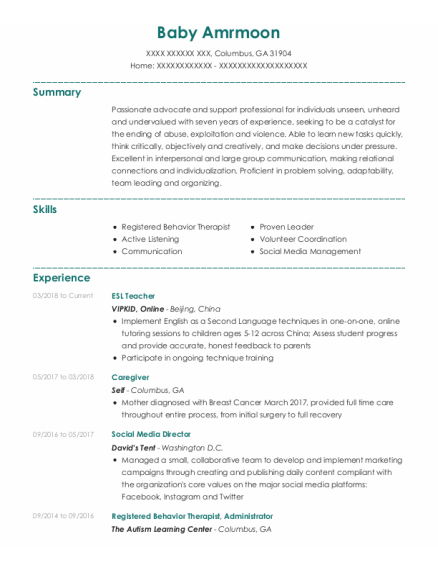 Esl Teacher resume sample Georgia