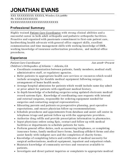 Patient Care Coordinator resume template Georgia