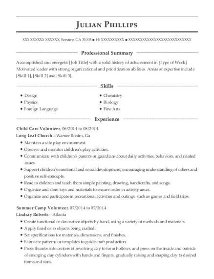 Child Care Volunteer resume sample Georgia