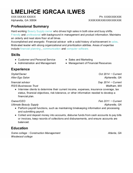 Stylist resume example Georgia