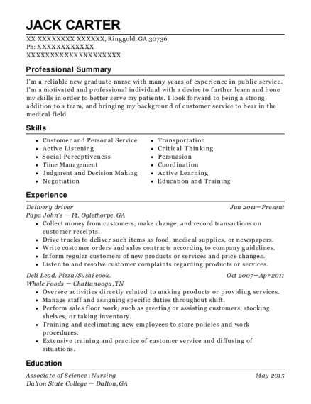 Delivery driver resume format Georgia