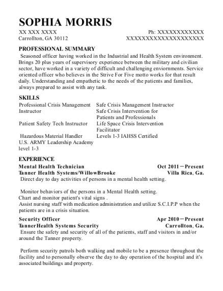 Mental Health Technician resume example Georgia