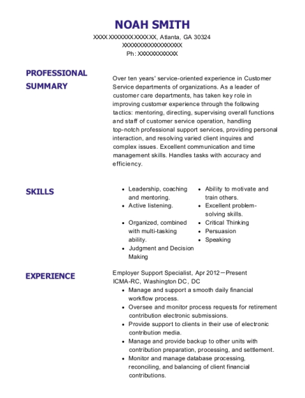 Employer Support Specialist resume sample Georgia