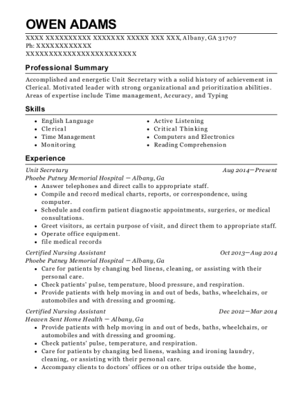 Unit Secretary resume example Georgia