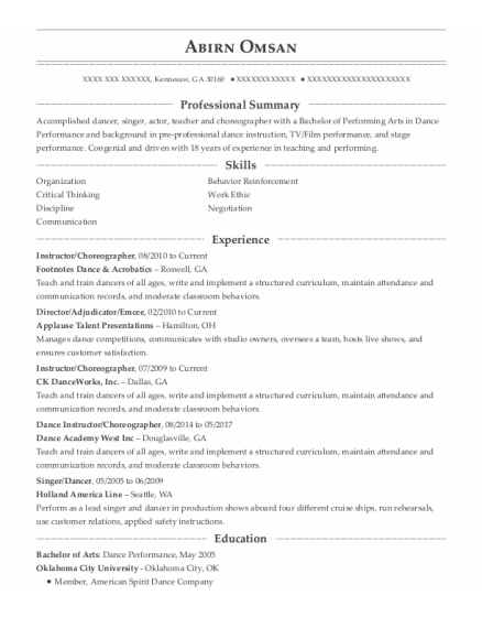 Instructor resume format Georgia