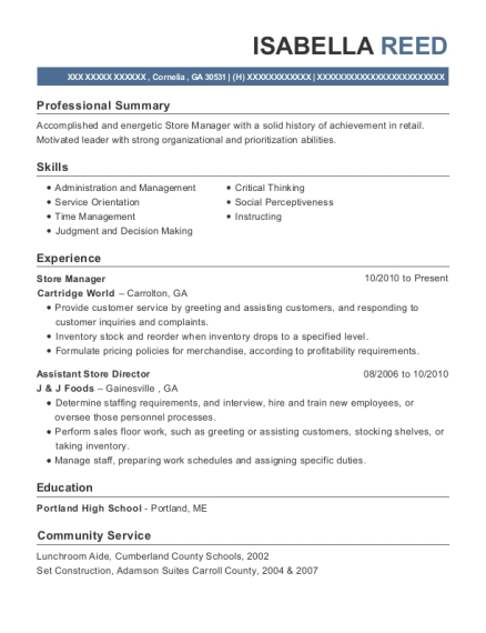 Store Manager resume template Georgia