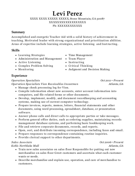 Operation Specialists resume example Georgia
