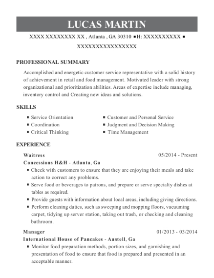Waitress resume format Georgia