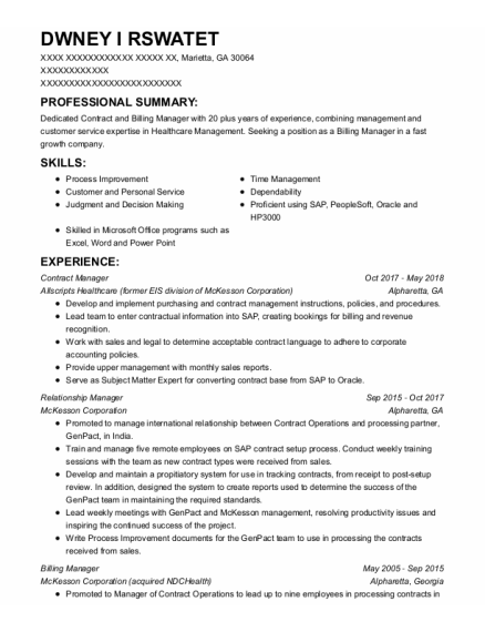 Contract Manager resume sample Georgia